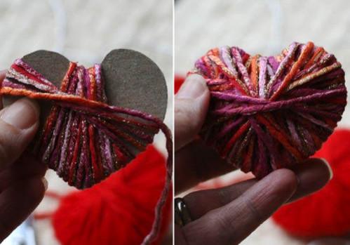 валентинка с помощью шерстяных ниток