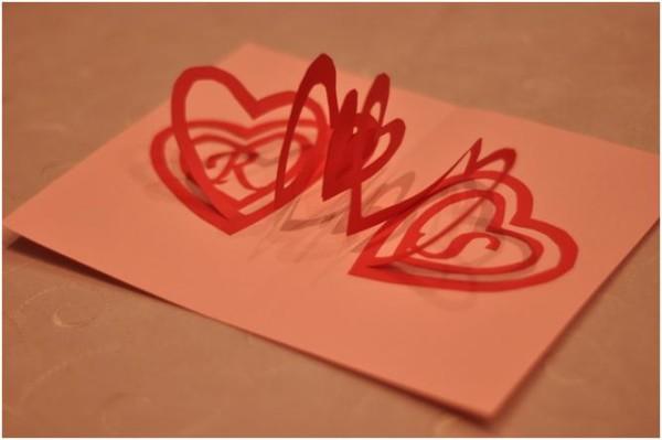 Валентинка-пружинка для открытки