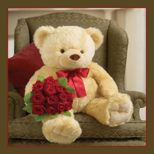 Мягкая игрушка медведь с цветами