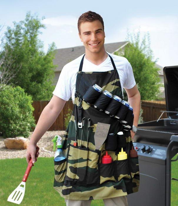Фартук для приготовления барбекю с карманами для пивных банок