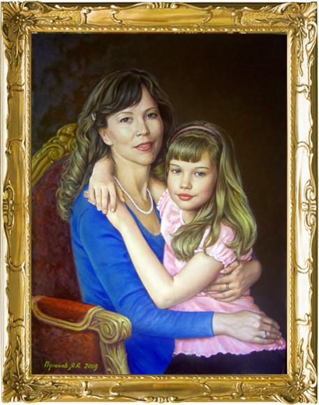 портрет матери с дочкой