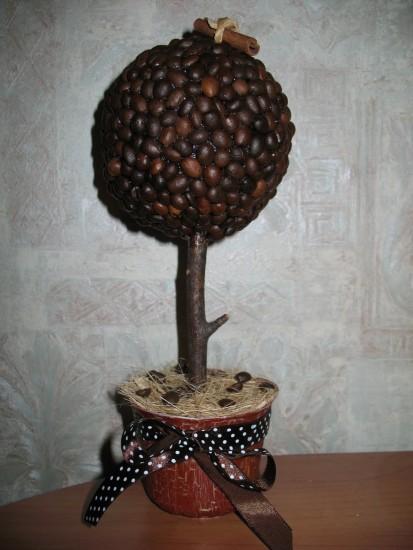 Открытка из кофейных зерен