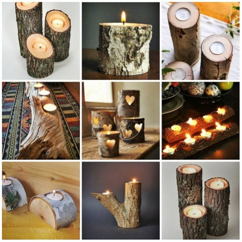 набор деревянных подсвечников