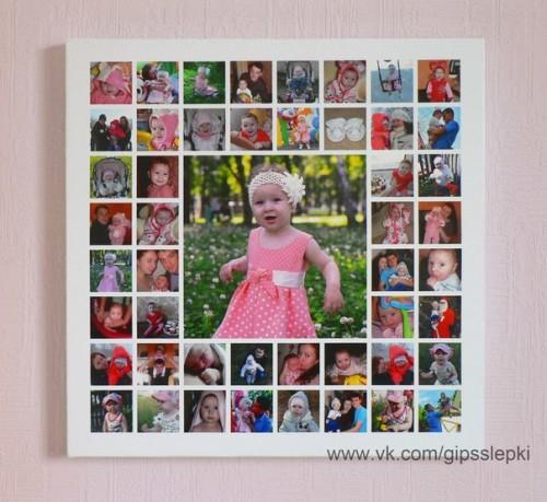 коллаж из ее детских фотографий