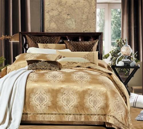шикарный комплект постельного белья в золотых тонах