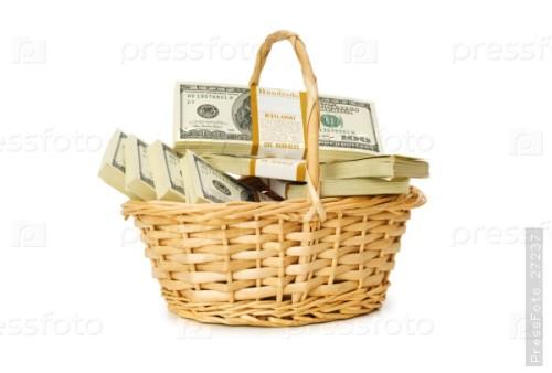 Корзина с деньгами