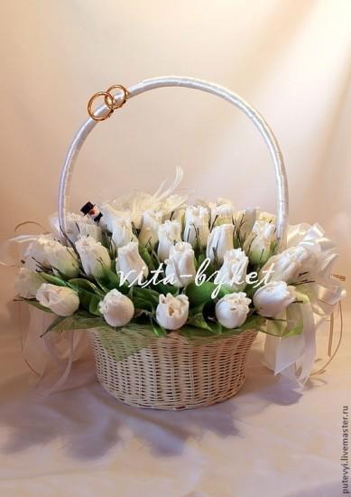 Корзина цветов на свадьбу в подарок #1