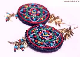 текстильные серьги