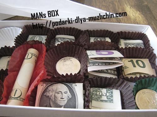 коробка конфет из денег