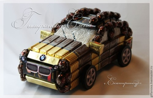 Автомобиль для мужчин из конфет