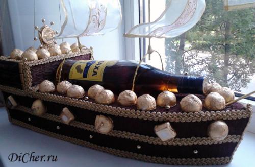 Корабль с коньяком из конфет