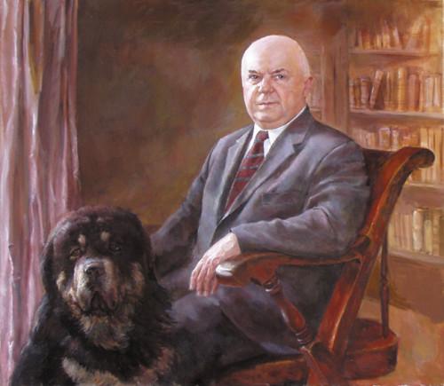 Портрет мужчина с собакой
